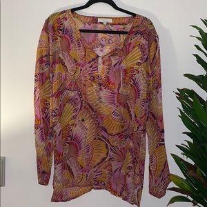 Elizabeth Hurley sheer blouse/ swim